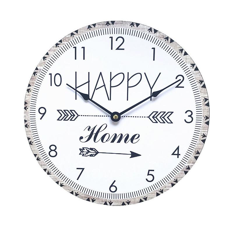 Ceas de perete, 30 cm, MDF, forma rotunda, Alb/Negru 2021 shopu.ro