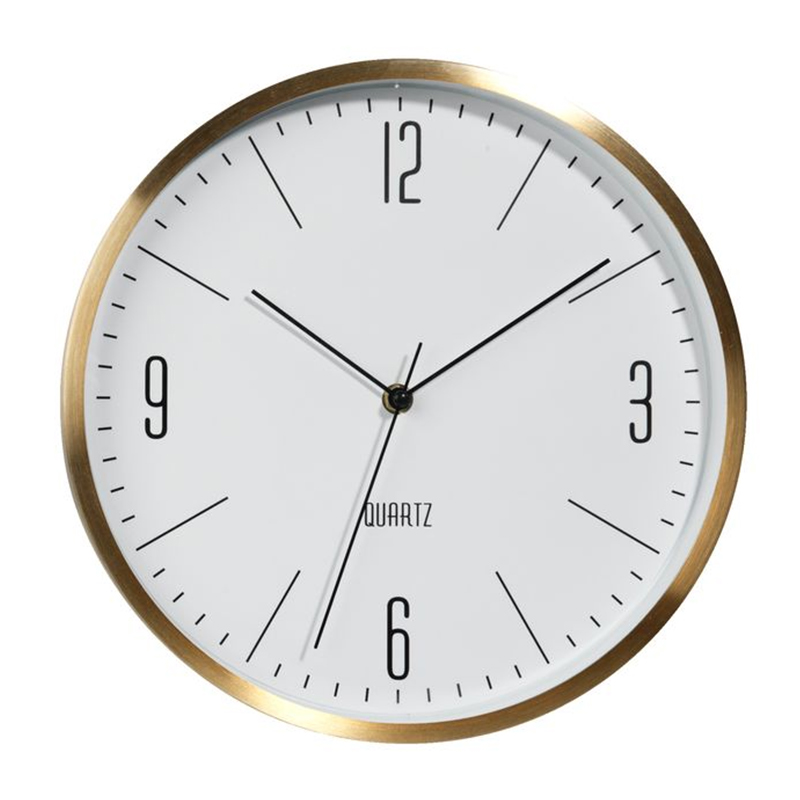 Ceas de perete, 30 cm, sticla/aluminiu, Auriu/Alb 2021 shopu.ro