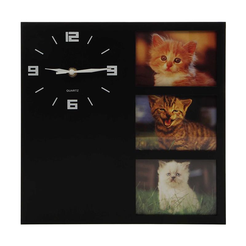 Ceas de perete, 30 x 30 x 4.2 cm, plastic, forma patrata, model pisica, Multicolor 2021 shopu.ro