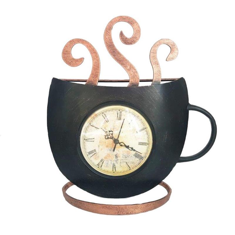 Ceas de perete, 31 x 30 cm, metal, Negru/Auriu 2021 shopu.ro