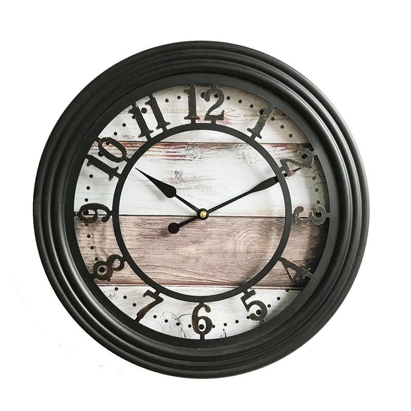 Ceas de perete, 35 cm, metal, Negru/Bej 2021 shopu.ro