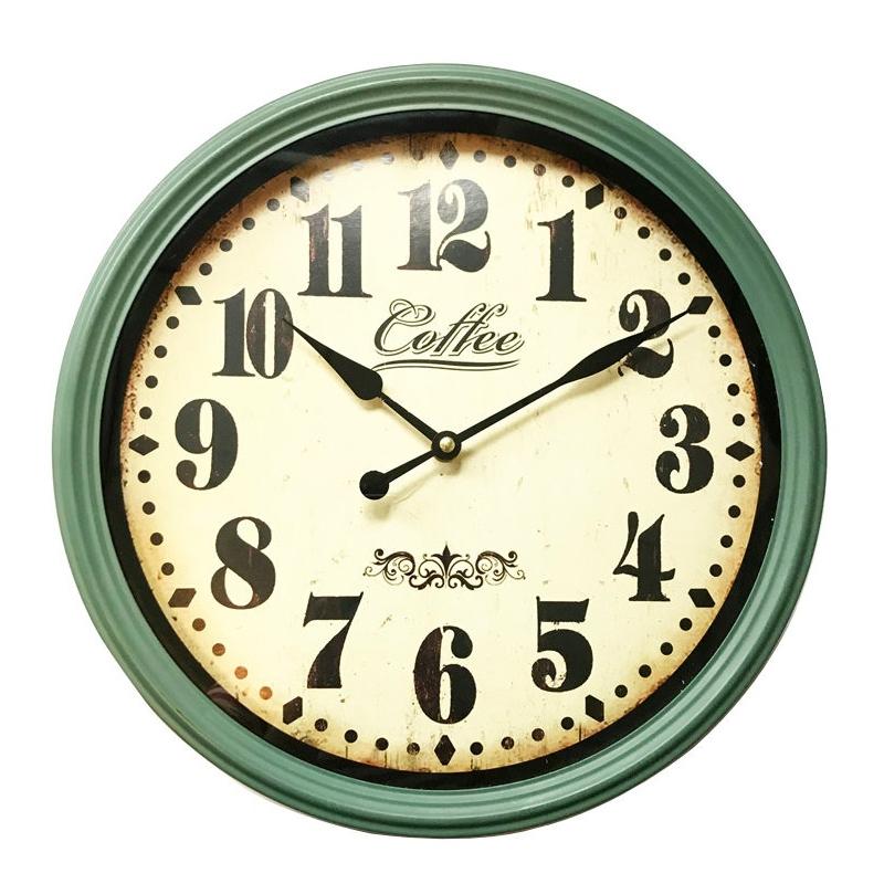 Ceas de perete, 38 x 10 x 38 cm, metal, Verde/Bej 2021 shopu.ro