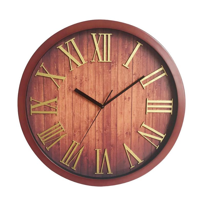 Ceas de perete, 40 cm, metal, forma rotunda, Maro 2021 shopu.ro