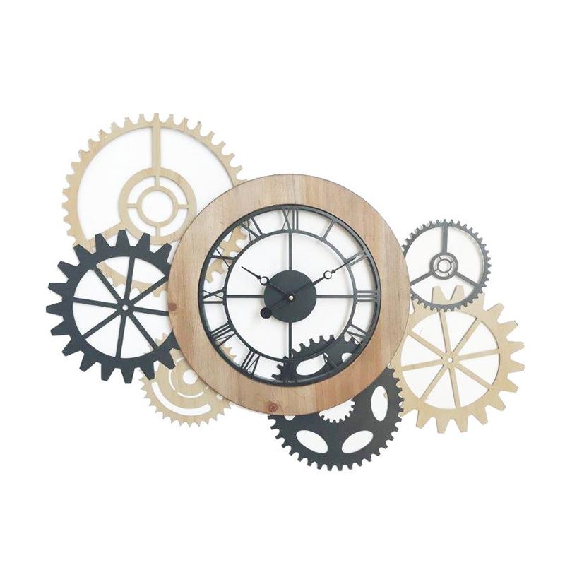 Ceas de perete, 80 x 60 cm, metal/MDF, Gri/Bej 2021 shopu.ro