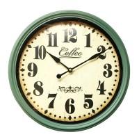 Ceas de perete, 38 x 10 x 38 cm, metal, Verde/Bej