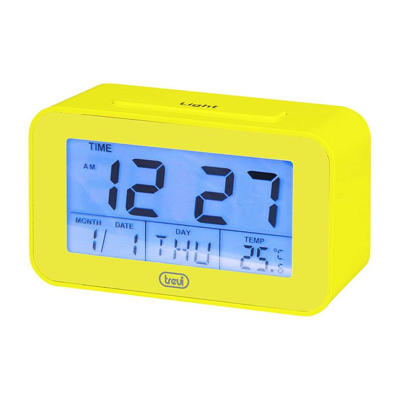 Ceas desteptator Trevi, 2 x AAA, 9 alarme, ecran LCD, termometru/calendar, functie cronometru, Galben