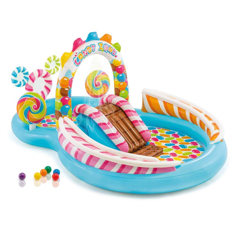 Centru de joaca tip piscina Candy Zone Intex, 295 x 191 cm 2021 shopu.ro