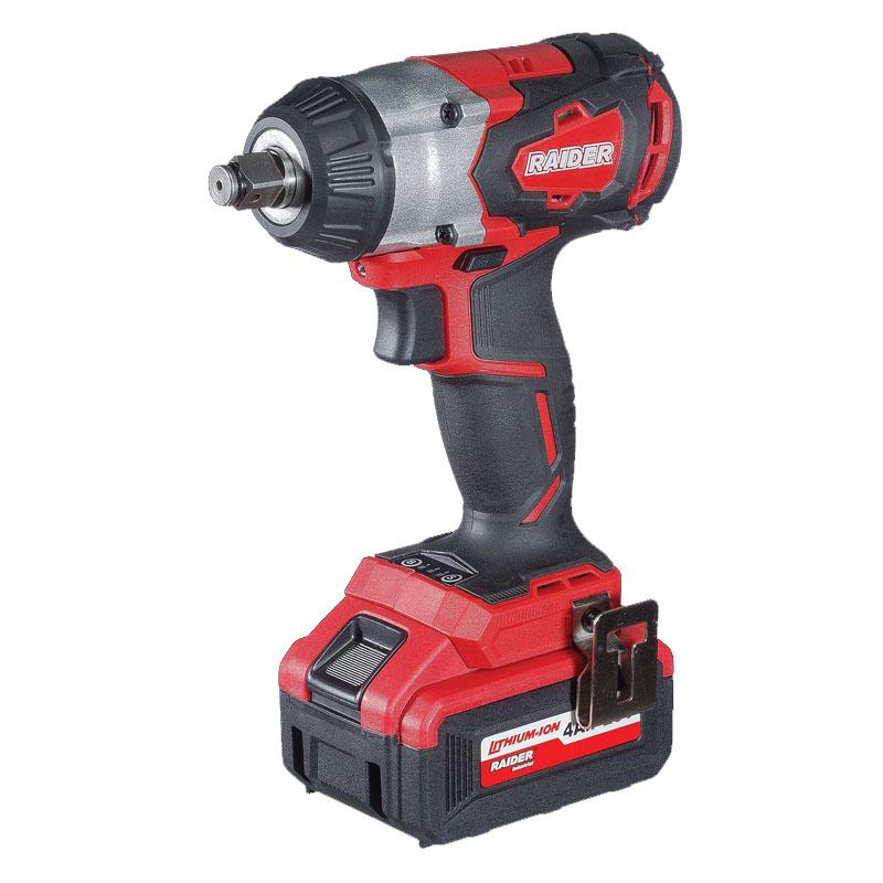 Cheie de impact cu acumulator Raider, 3300 rpm, 20 V, 4 Ah, 320 Nm, motor fara perii, LED 2021 shopu.ro