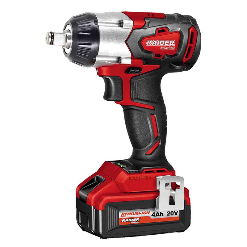 Cheie de impact cu acumulator Raider, 3300 rpm, 20 V, 4 Ah, 320 Nm, motor fara perii, LED