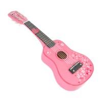 Chitara pentru copii din lemn, 52 x 18 x 5 cm, 3 - 5 ani, Roz