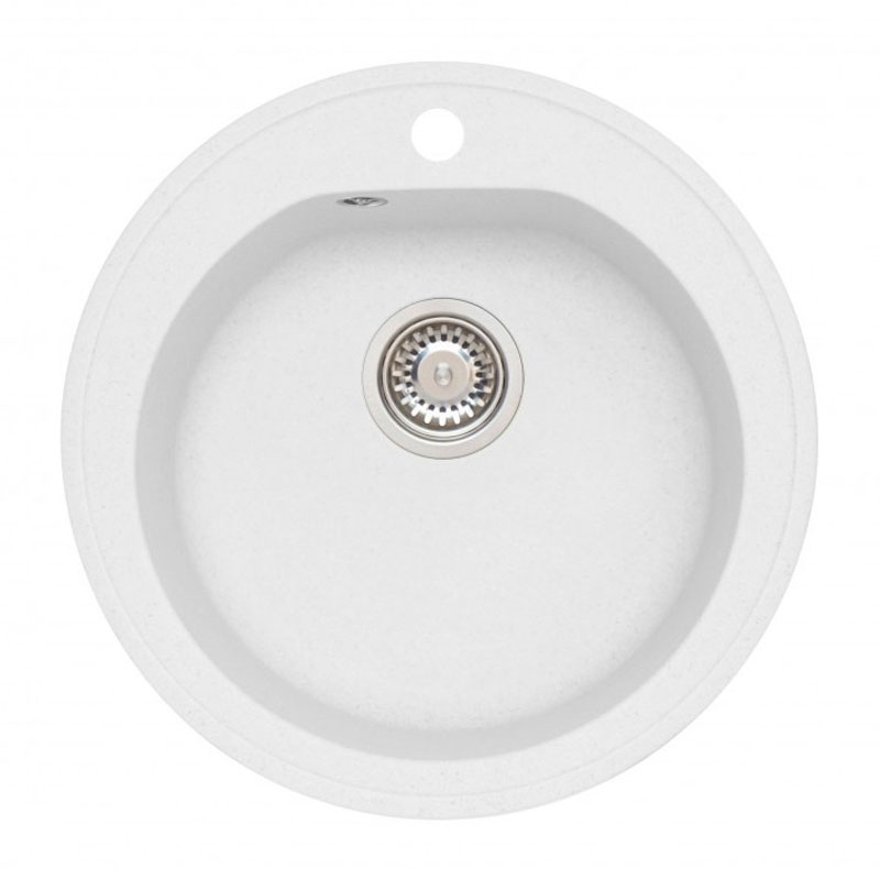 Chiuveta ovala pentru bucatarie Niagara 10 A11 Alveus, 510 x 510 x 180 mm, material granit, Alb 2021 shopu.ro