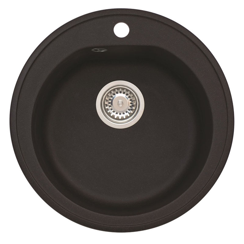 Chiuveta ovala pentru bucatarie Niagara 10 A91 Carbon Alveus, 510 x 510 x 180 mm, material granit, Negru