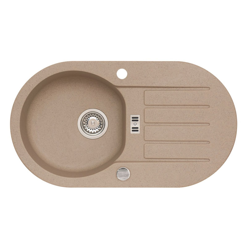 Chiuveta ovala pentru bucatarie Niagara 40 A55 Alveus, 780 x 435 x 160 mm, material algranit, Bej shopu.ro