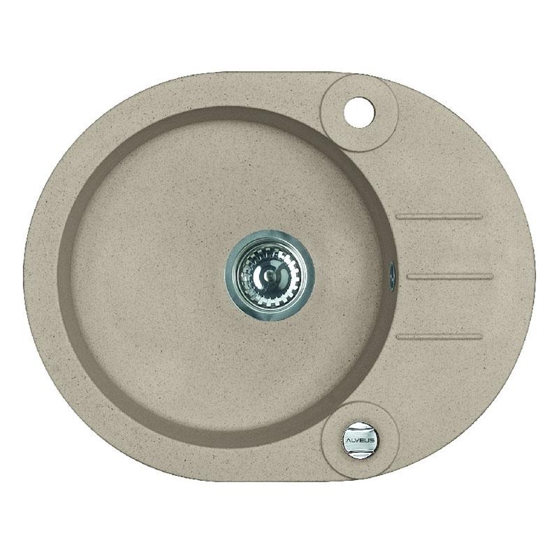Chiuveta ovala pentru bucatarie Roll 40 A55 Beige Melange Alveus, 595 x 475 x 160 mm, material granit, Bej shopu.ro