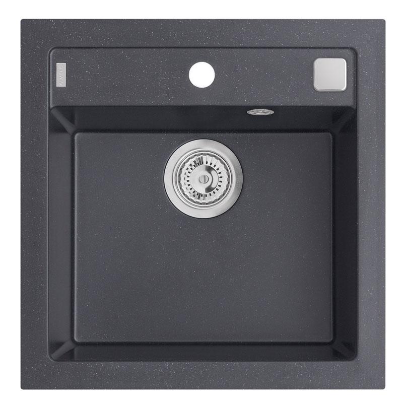 Chiuveta patrata pentru bucatarie Formic 20 A91 Carbon Alveus, 520 x 510 x 200 mm, material compozit, Negru shopu.ro