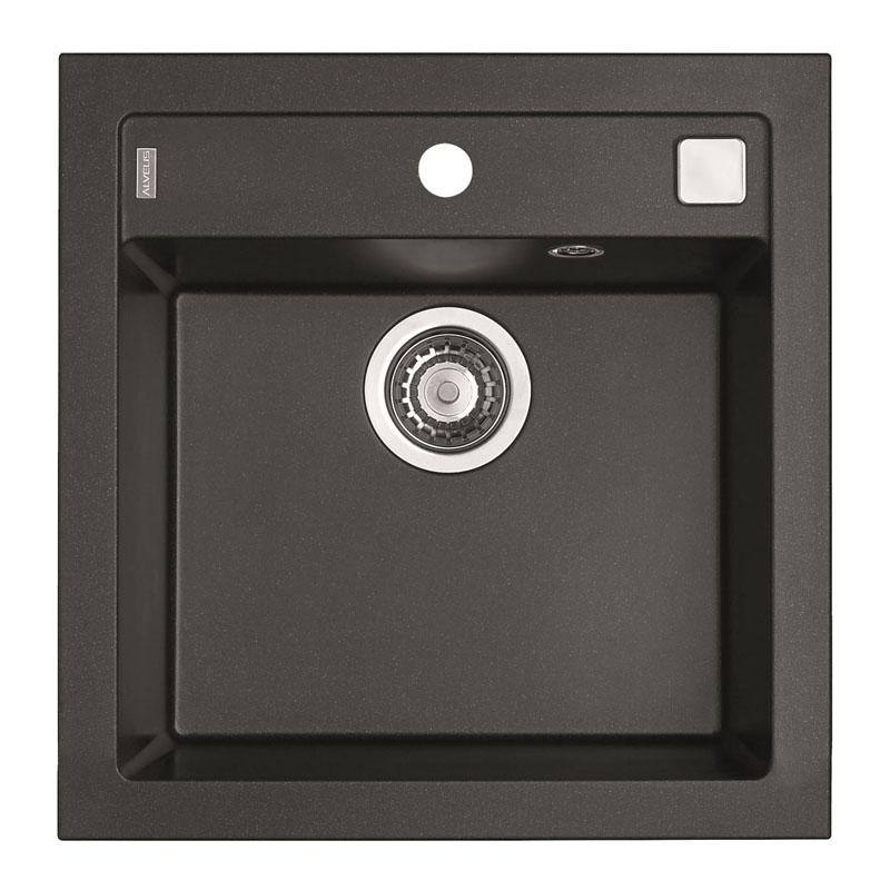 Chiuveta patrata pentru bucatarie Formic 20 G05M Twilight Alveus, 520 x 510 x 200 mm, material compozit, Negru 2021 shopu.ro