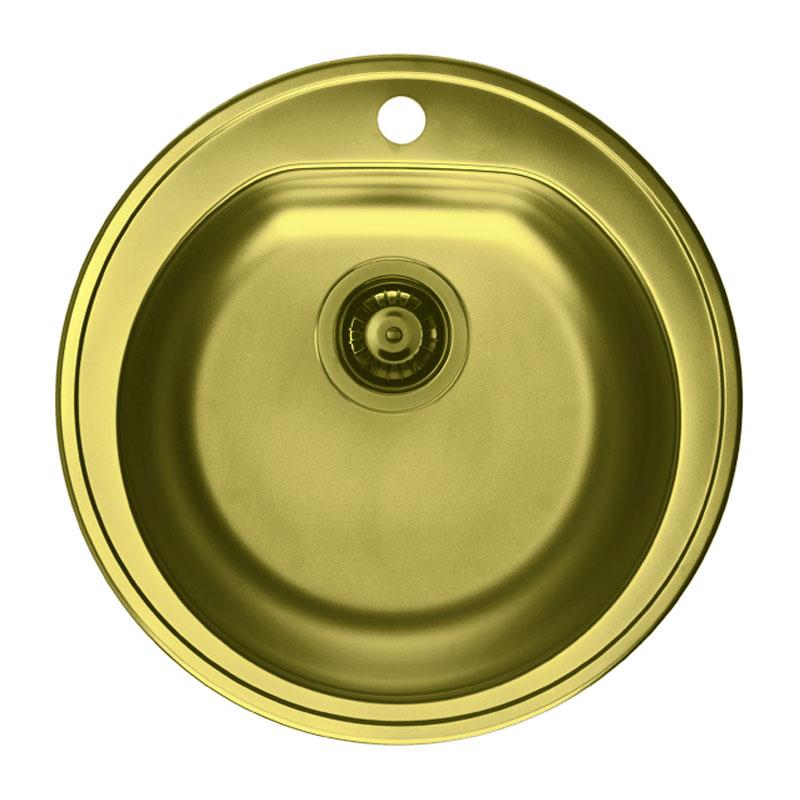 Chiuveta pentru bucatarie Monarch Form 30 Gold Alveus, 510 x 510 x 185 mm, material inox, Gold