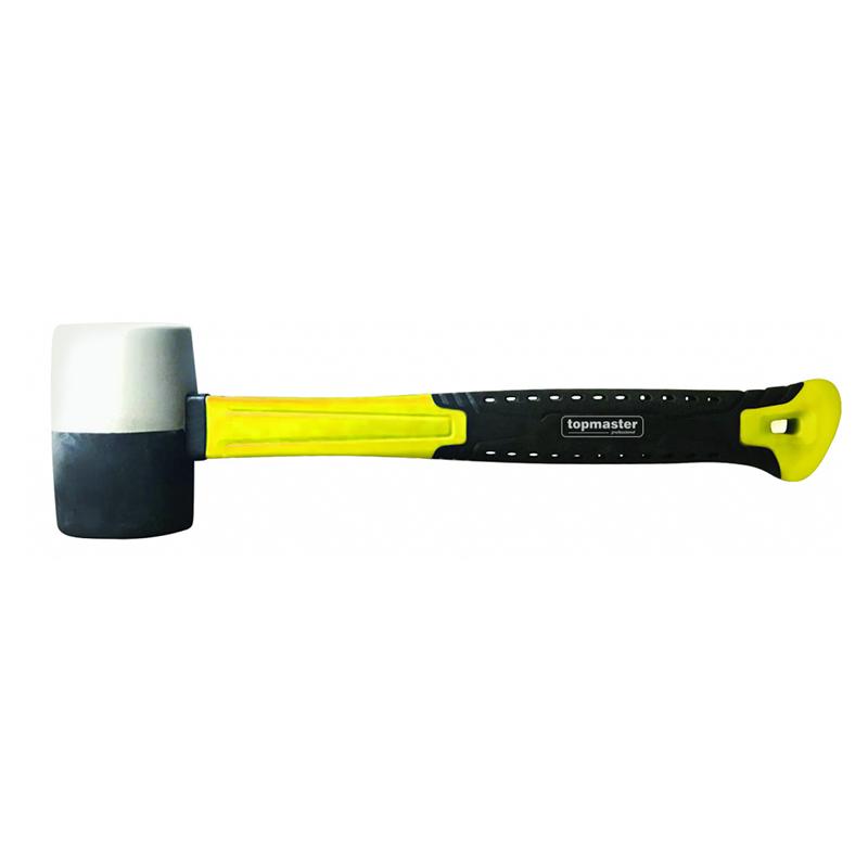Ciocan cauciuc Top Master Pro, 450 g, maner fibra de sticla, Alb/Negru shopu.ro