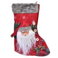 Ciorap pentru cadouri Craciun, 27 cm, model Mos Craciun