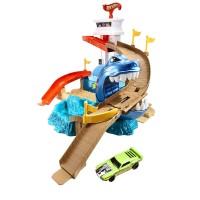 Circuit Hot Wheels rechin, 33 x 30 x 6 cm, pista si masina incluse