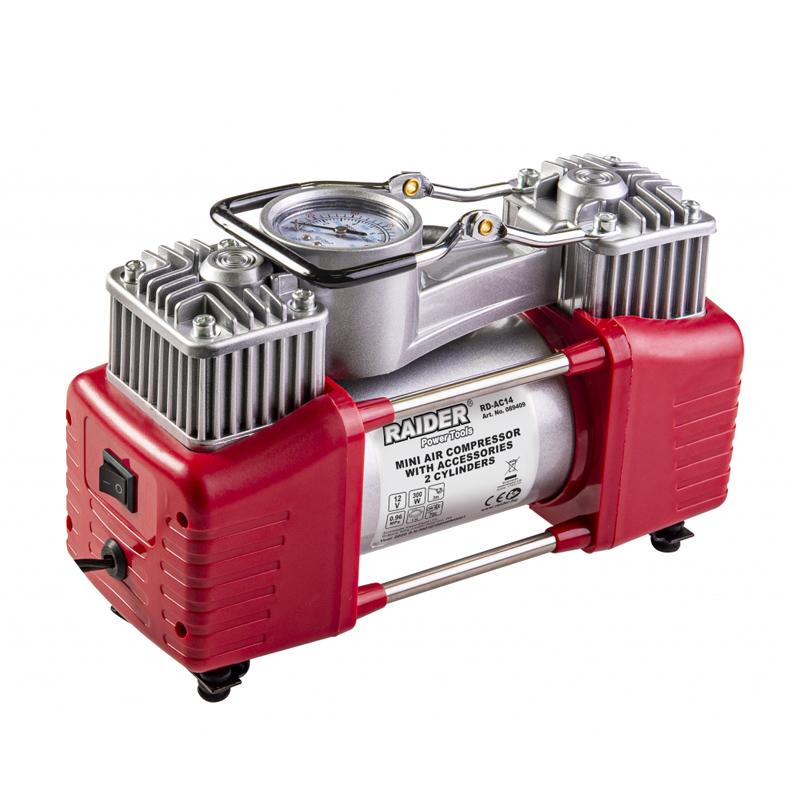 Compresor Raider, 12 V x 300 W, 70 l/min, 9.6 bar, 2 cilindri, 3 adaptoare incluse 2021 shopu.ro