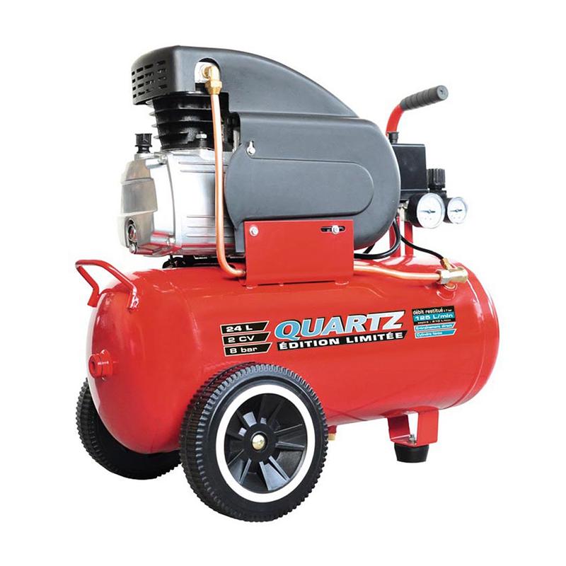Compresor aer Quartz, 24 l, 2 cp, 8 bar, 125 l/min, Rosu 2021 shopu.ro