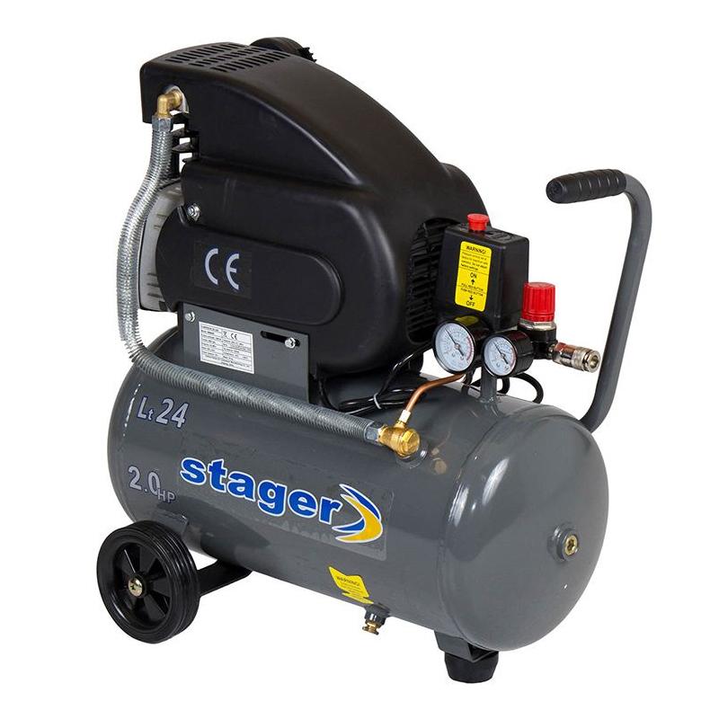 Compresor aer Stager, 1500 W, 8 bar, 24 l, 200 l/min, 2850 rpm, monofazat, angrenare directa 2021 shopu.ro