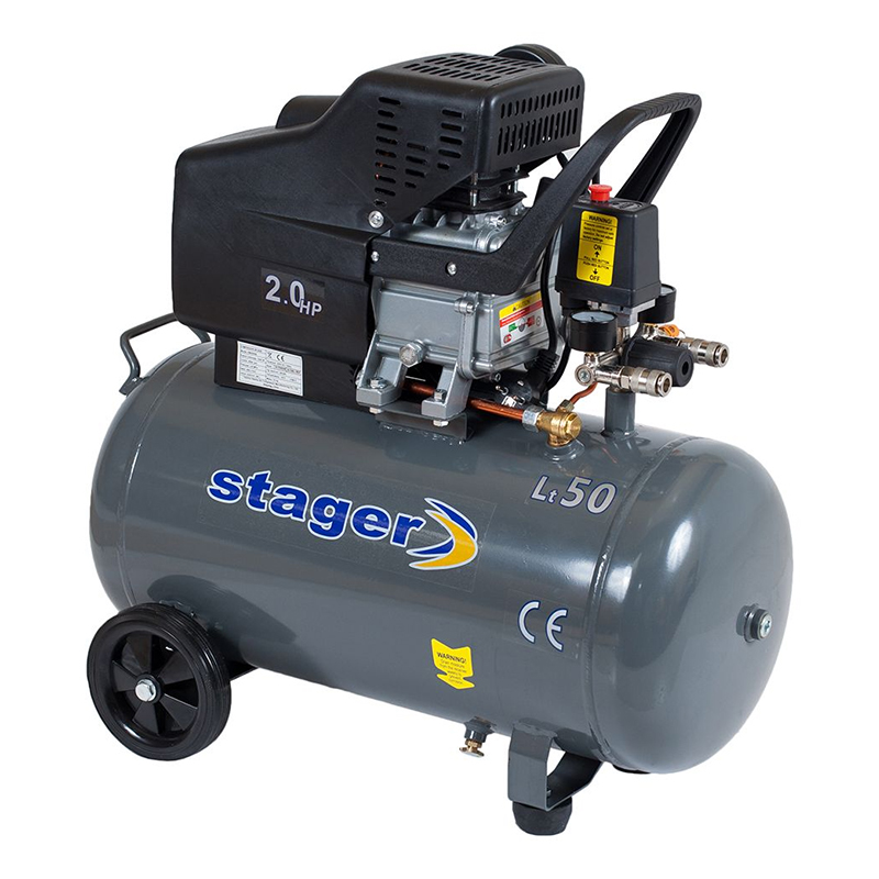 Compresor aer Stager, 1500 W, 8 bar, 50 l, 200 l/min, 2850 rpm, monofazat, angrenare directa 2021 shopu.ro