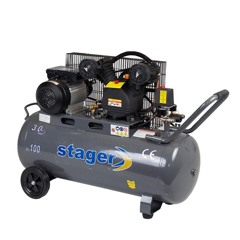 Compresor aer Stager, 2200 W, 8 bar, 100 l, 250 l/min, 1050 rpm, monofazat, angrenare curea