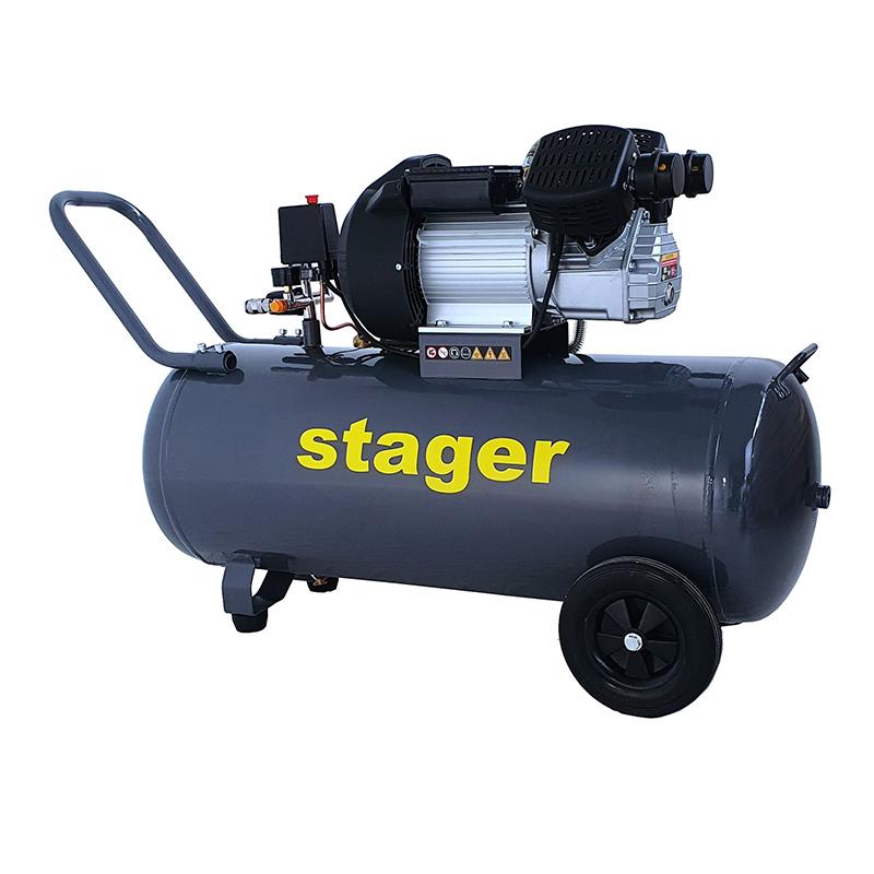 Compresor aer Stager, 2200 W, 8 bar, 100 l, 356 l/min, 2850 rpm, monofazat, angrenare directa 2021 shopu.ro