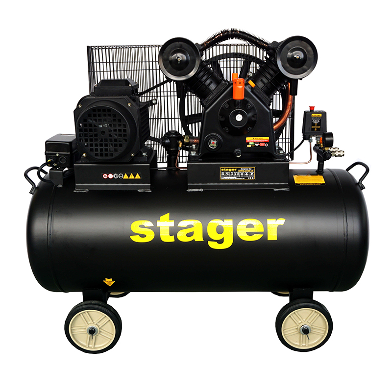 Compresor aer Stager, 4100 W, 10 bar, 200 l, 600 l/min, 950 rpm, trifazat, angrenare curea 2021 shopu.ro