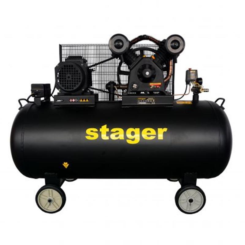 Compresor aer Stager, 4100 W, 10 bar, 370 l, 600 l/min, 950 rpm, trifazat, angrenare curea 2021 shopu.ro