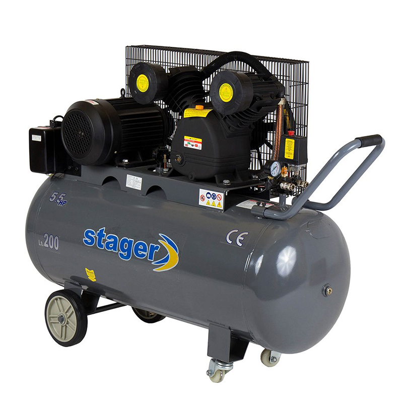 Compresor aer Stager, 4100 W, 8 bar, 200 l, 600 l/min, 950 rpm, trifazat, angrenare curea 2021 shopu.ro