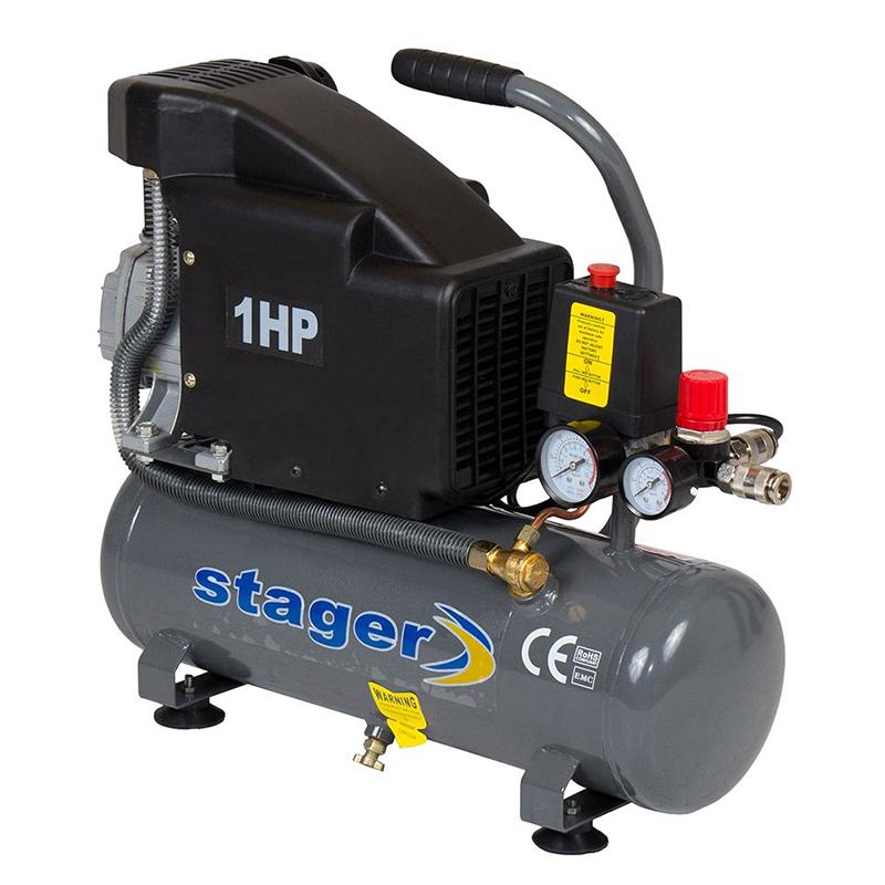 Compresor aer Stager, 700 W, 8 bar, 6 l, 126 l/min, 2850 rpm, monofazat, angrenare directa 2021 shopu.ro