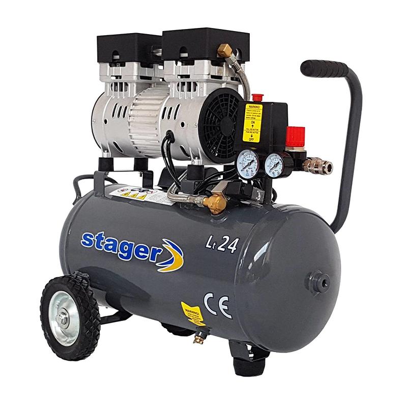 Compresor aer Stager, 750 W, 8 bar, 24 l, 165 l/min, 1400 rpm, monofazat, angrenare directa, silentios 2021 shopu.ro