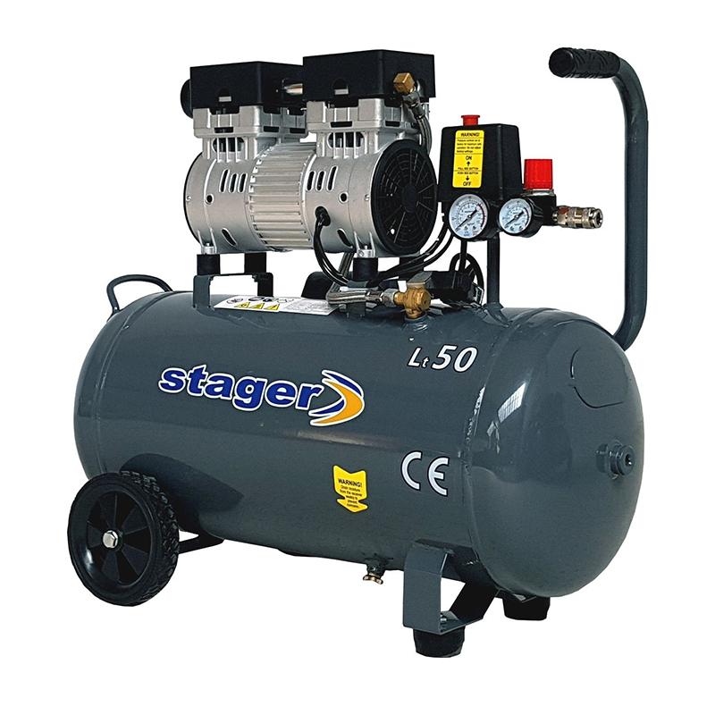 Compresor aer Stager, 750 W, 8 bar, 50 l, 165 l/min, 1400 rpm, monofazat, angrenare directa, silentios 2021 shopu.ro