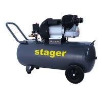 Compresor aer Stager, 2200 W, 8 bar, 100 l, 356 l/min, 2850 rpm, monofazat, angrenare directa