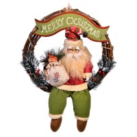 Coronita pentru usa Mos Craciun, 35 cm, mesaj Merry Christmas