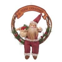 Coronita pentru usa Mos Craciun, 42 cm, mesaj Merry Christmas