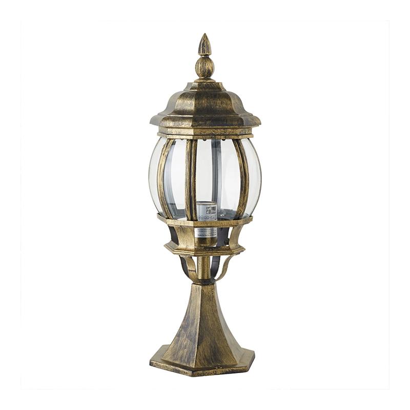 Corp iluminat exterior Dubai, 100 W, E27, 51 cm, IP23, lumina alb cald, Negru/Auriu shopu.ro