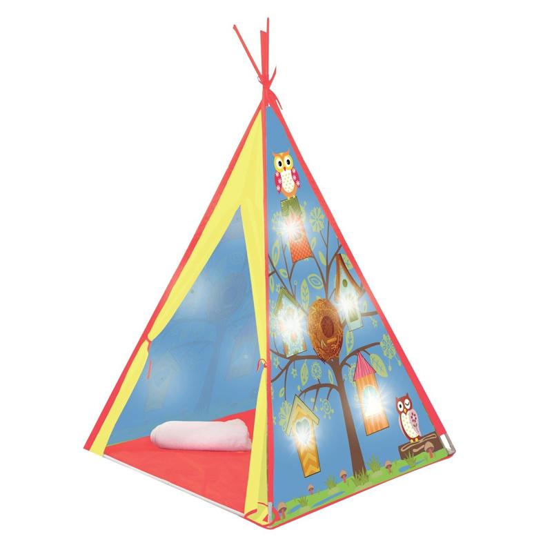 Cort luminat pentru copii Indian Owl, 10 x LED, 120 x 120 x 160 cm, Multicolor 2021 shopu.ro