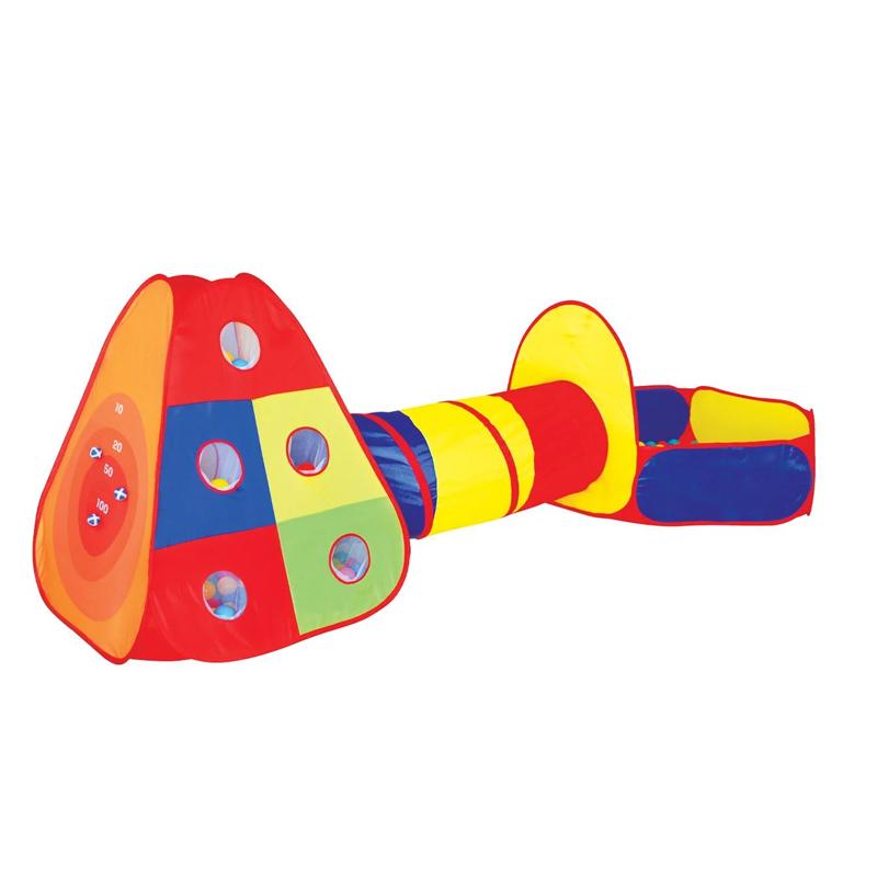 Cort tip tunel pentru copii, 300 x 120 x 100 cm, 80 bile, loc de joaca inclus, 3 ani+ 2021 shopu.ro
