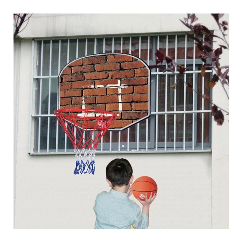 Cos de baschet pentru copii, 60 x 44 cm, imprimeu caramida, minge inclusa