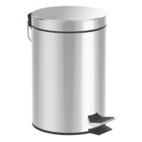 Cos de gunoi metalic cu pedala, 12 l, Argintiu