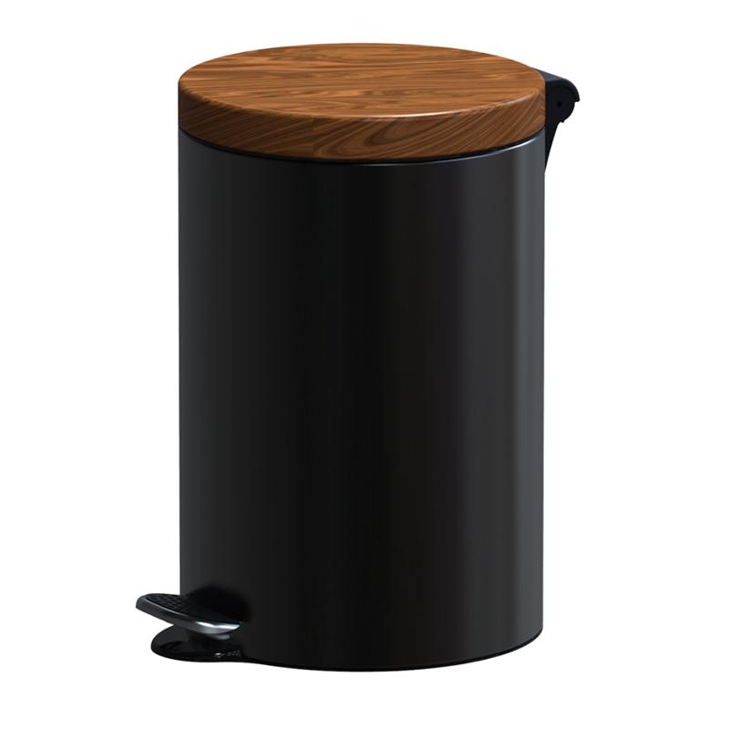 Cos menajer cu pedala Meliconi, 40 x 25 cm, 12 l, corp inox, capac design lemn, Negru shopu.ro