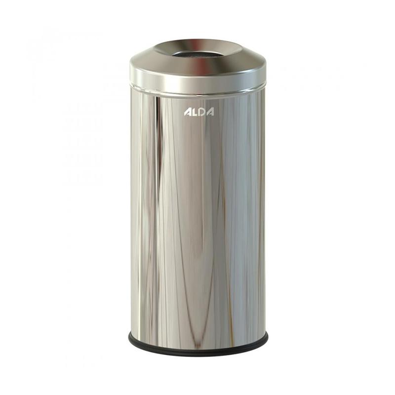 Cos menajer non-inflamabil Meliconi, 72 x 24 cm, 30 l, corp inox, forma cilindrica, Argintiu shopu.ro