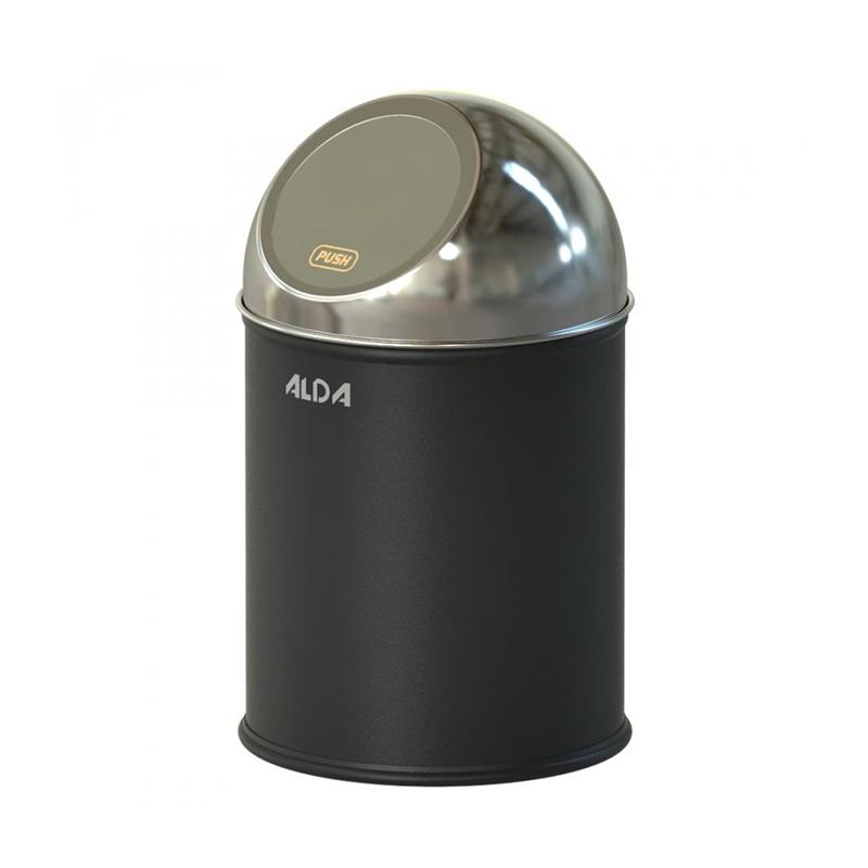 Cos menajer oscilant Alda Meliconi, 51 x 24 cm, 20 l, corp inox, sistem push, Negru/Argintiu 2021 shopu.ro