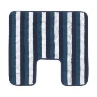 Covor poliester pentru baie, 55 x 60 cm, Albastru/Alb