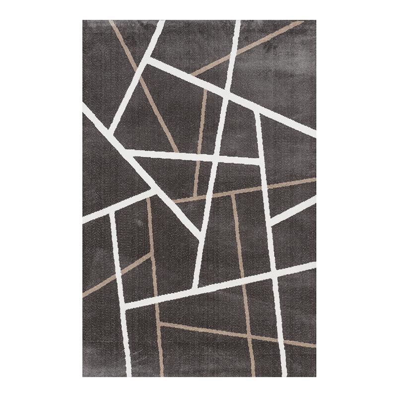 Covor modern Sintelon Creative, 140 x 70 cm, poliester, model geometric, Maro/Alb 2021 shopu.ro