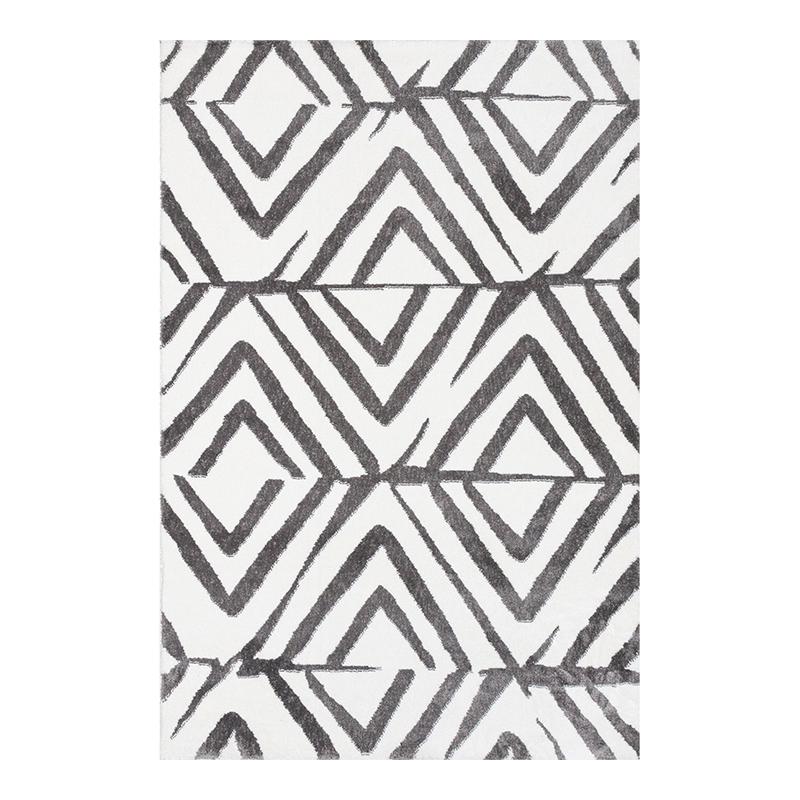 Covor modern Sintelon Creative, 70 x 140 cm, poliester, model geometric, Alb/Gri shopu.ro